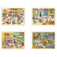 Puzzle à cadre en bois 48 pièces, THEMES DIVERS - Lot de 4
