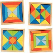 Plateaux mosaïque en bois - Carton de 4