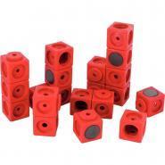 Cubes magnétiques emboitables 3.4cm rouge - Sachet de 20