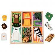 Encastrement tactile en bois, le Zoo, 6 pièces