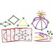 Géo Set 2D et 3D + 20 fiches modèles - Boite de 144 pièces