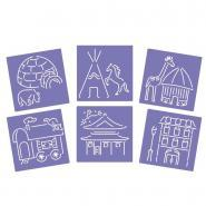 Pochoirs trace contour maisons du monde - Paquet de 6