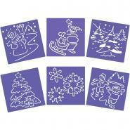 Pochoir trace contour Noël - Paquet de 6