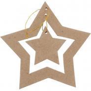 Suspension double étoiles, en carton épais à décorer - Lot de 10