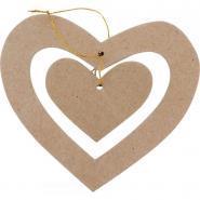 Suspension double cœurs, en carton épais à décorer - Lot de 10