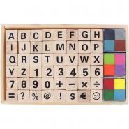 Set de 48 tampons alphabet / chiffre + encreur