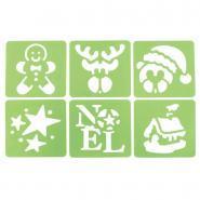 Pochoirs en plastique thème Noël version 3 - Paquet de 6