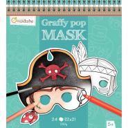Carnet de 24 masques en carton thème garçon à décorer