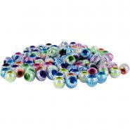 Perles en plastique couleurs irisées, cerclées d'un fil aluminium - Coloris assortis - Sachet d'environ de 100