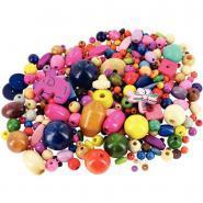 Perles en bois, formes, tailles et couleurs assortis - Boîte d'environ 220 grammes