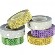 Ruban adhésifs glitter 3D motifs assortis - Lot de 6