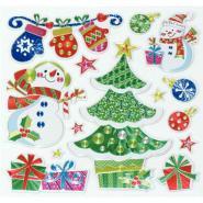 Sticker effet métallisé formes de Noël assorties - Sachet de 48