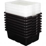 Boites de rangement modèle moyen coloris noir - Lot de 8