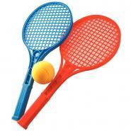 Raquettes de tennis en plastique + balles en mousse - Lot de 12