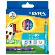 Crayons de couleur Ferby triangulaires 12cm - Pochettes de 12