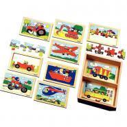 """Puzzles en bois """"Les véhicules"""" - 6 à 8 pièces - Boîte de 10"""
