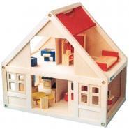 Maison de poupées en bois + accessoires