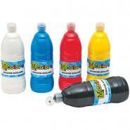 Gouache liquide - Couleurs primaires - Carton de 6 flacons de 1L