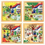 """Puzzles à cadre en bois de 16 pièces """"Les 4 saisons"""""""