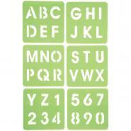 """Pochoirs """"Alphabet et Chiffres"""" - Paquet de 6"""