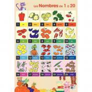 Poster pédagogique en PVC - 76x52 cm - Les nombres de 1 à 20