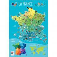 Poster pédagogique en PVC - 76x52 cm - La France
