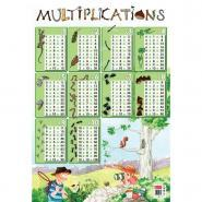 Poster pédagogique en PVC - 76x52 cm - Les tables de multiplications