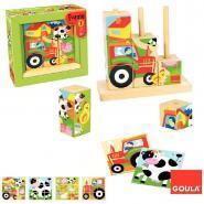 Abaque en bois de 9 cubes puzzle - La ferme