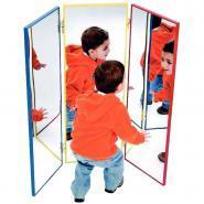 Triptyque miroir 100x35 cm avec cadre en aluminium