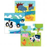 """Puzzles en bois de  6 pièces """"Les animaux"""" - Boîte de 3"""