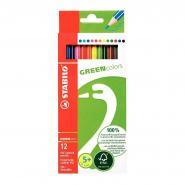 Crayons de couleur Greencolors en bois naturel - Etui de 12