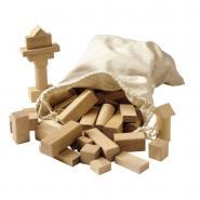 Jeu de contruction en bois brut - Lot de 100 blocs
