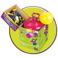 """Bouteille d'hélium jetable + 30 ballons latex 9"""" multicolores"""