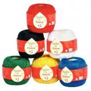 Pelotes de coton de 50g - Couleurs assorties lot de 6 ( jaune, rouge, vert, noir, bleu et blanc)