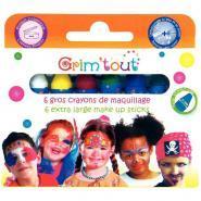 Gros crayons de maquillage basiques - Boite de 6
