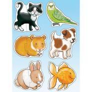 """Puzzles en carton de 2 pièces """"Les animaux de compagnie"""" - Boîte de 6"""