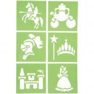 """Pochoirs en plastique """"Princesse et chevalier""""-  15x15 cm - Paquet de 6"""