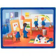 """Puzzles soft de 15 pièces """"Les moments à l'école"""" - Lot de 3"""