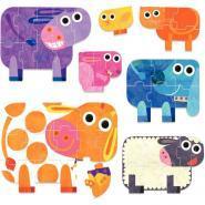 Boite de 7 puzzles géants progressifs, les animaux de la ferme