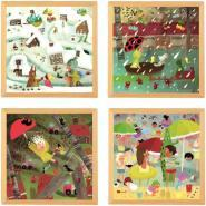 Lot 4 puzzles progressifs en bois, les phénomènes météorologiques extrêmes