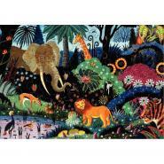 Puzzle en bois d'environ 50 pièces, Nuit dans la jungle