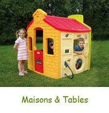 Maisons et tables pour jeux de plein air