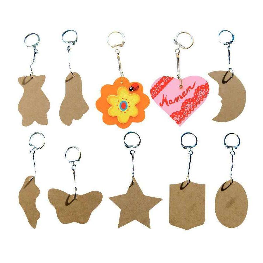 Porte-clef bois assorti - Lot de 12