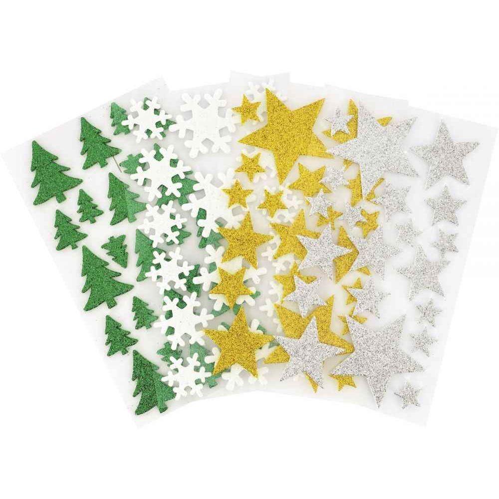 Décoration pailletée adhésive thème Noël - Lot de 80