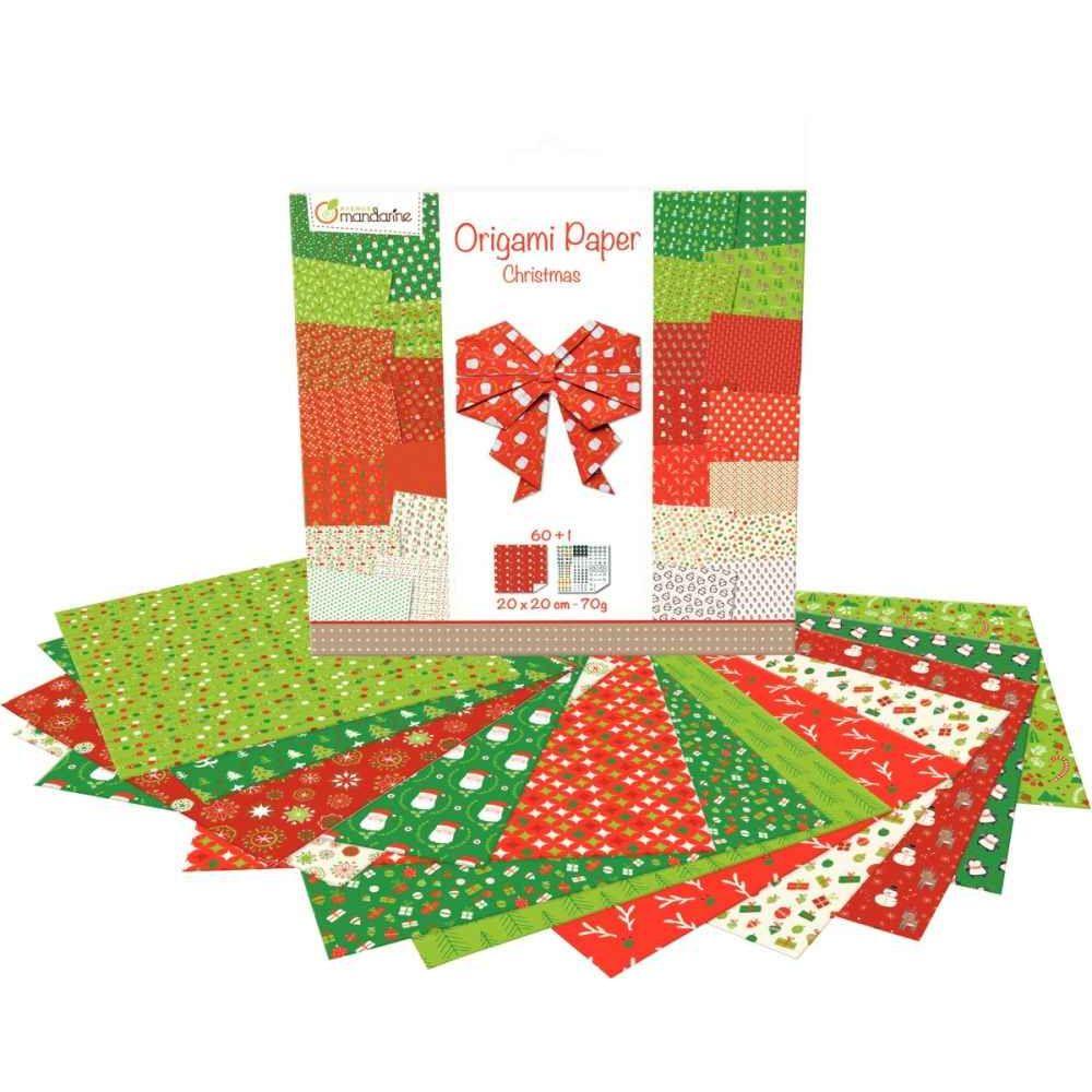 Origami Noël 20 x 20 cm - Pochette de 60 feuilles