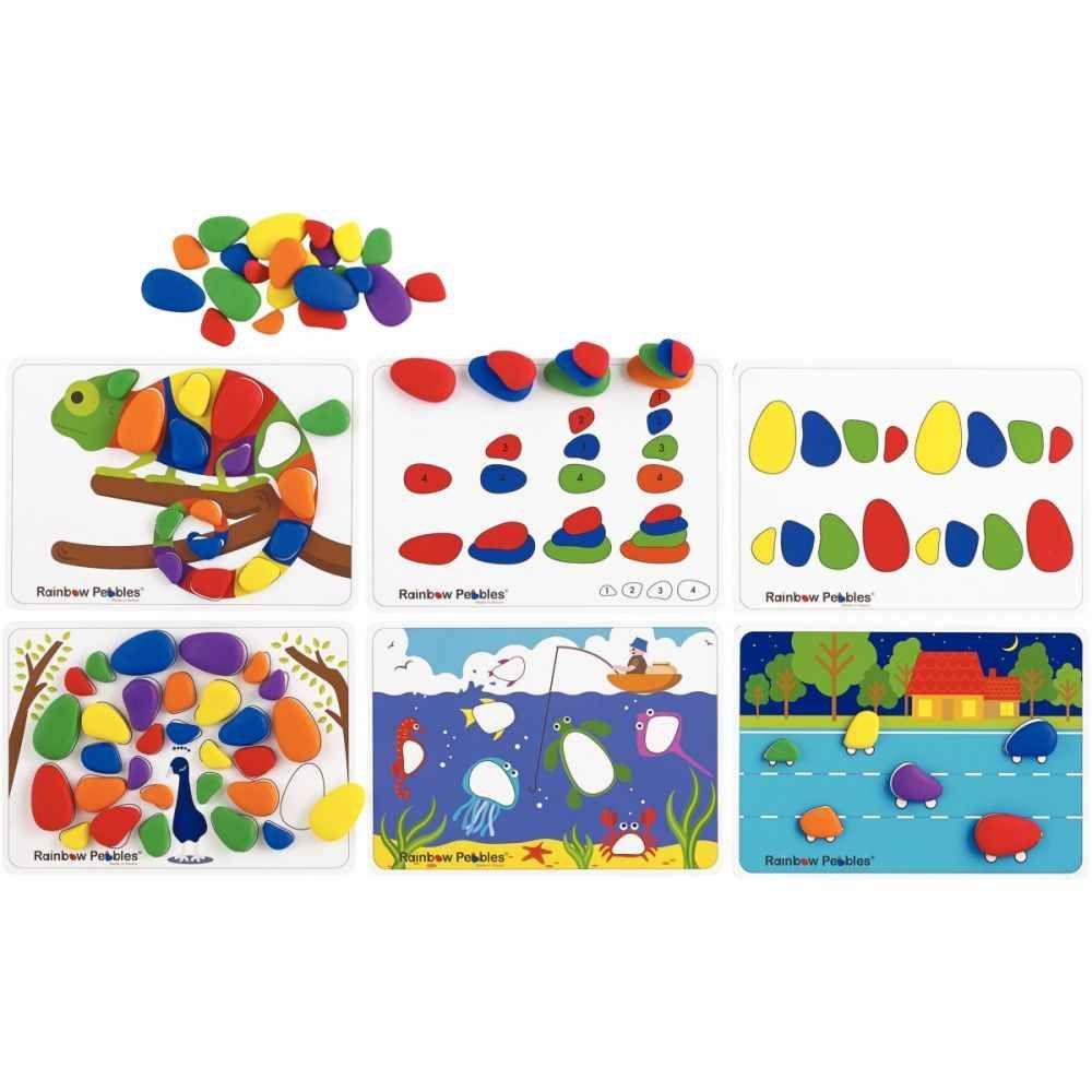 Set de 48 galets avec 12 cartes d'activités recto / verso