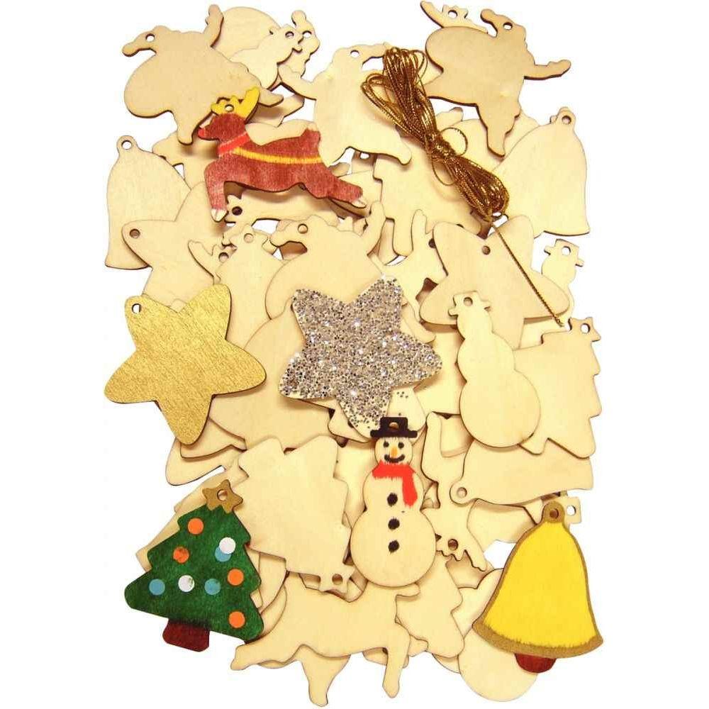 Petite décoration de Noël assorties - En bois brut à décorer - Lot de 54