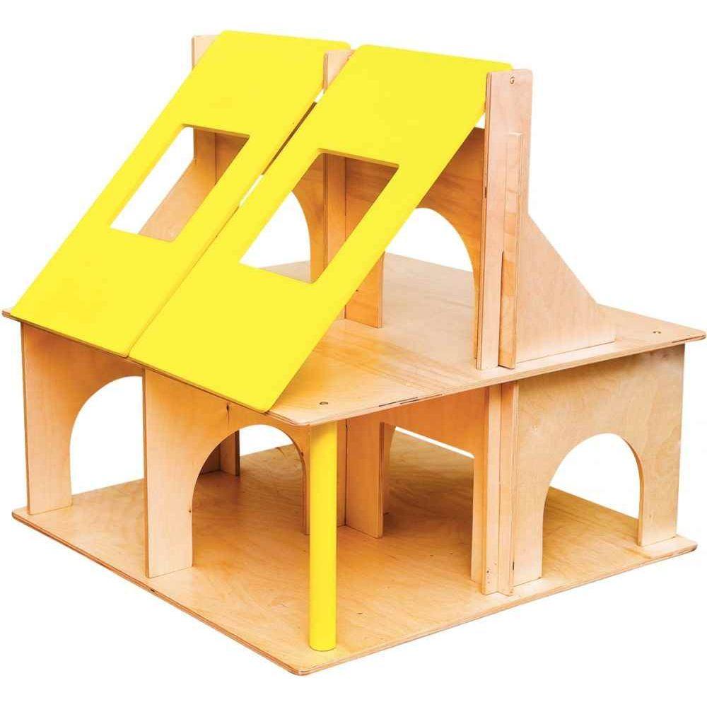 Grande maison de poupée en bois avec toits ouvrants