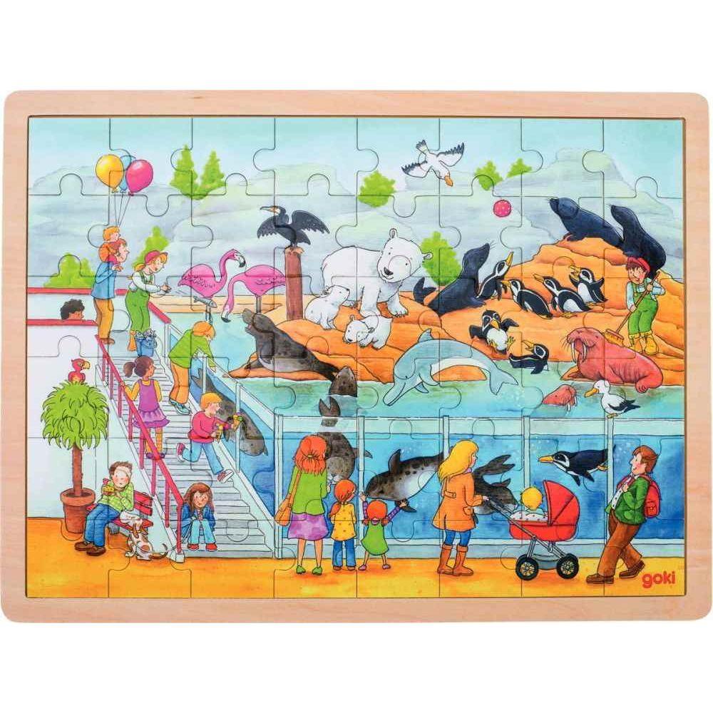 Puzzle à cadre en bois de 48 pièces une journée au Zoo