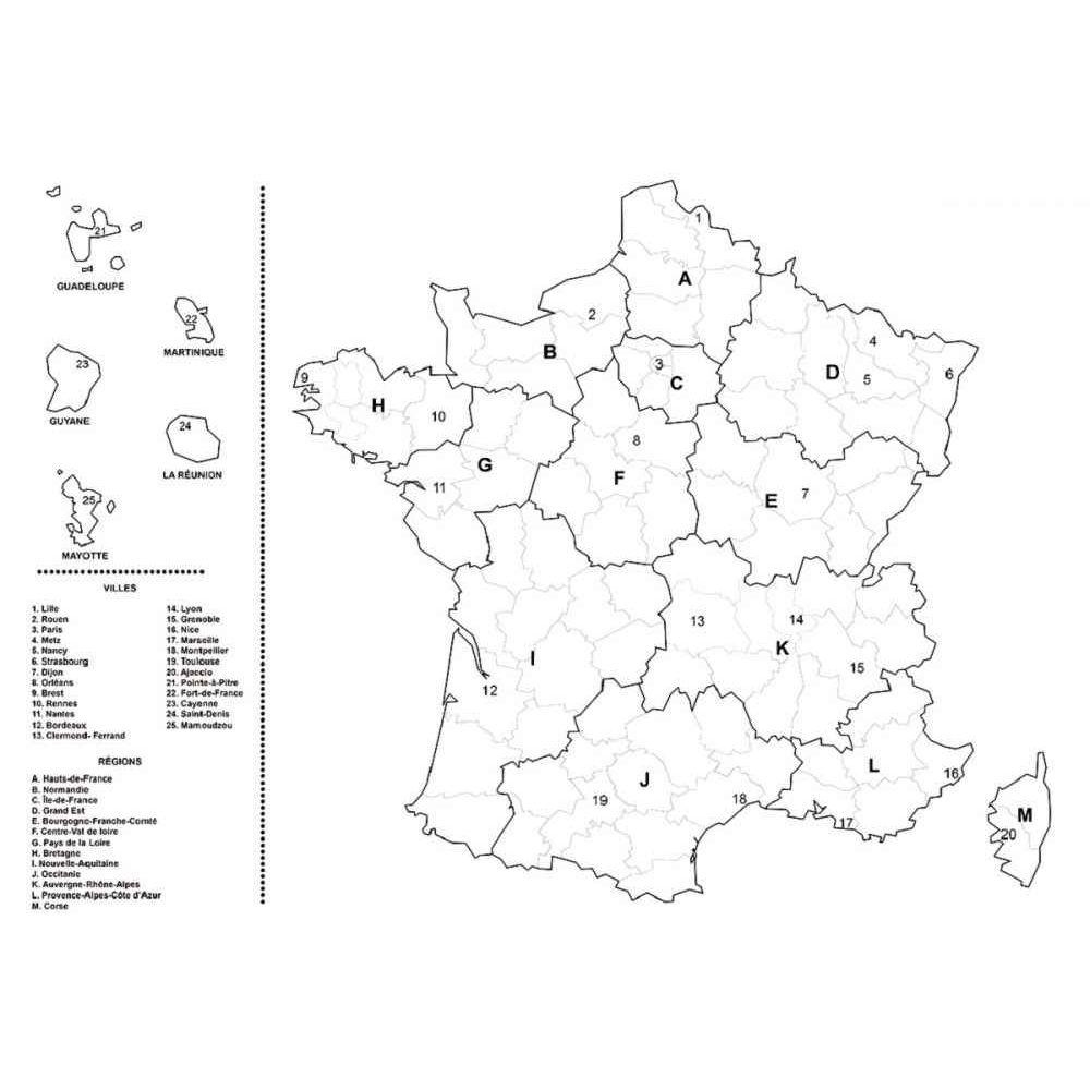 Coloriage géant carte de la France - Lot de 5